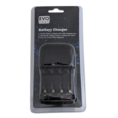 Evo Labs Ni-MH AA & AAA Battery Charger with USB Charging Port