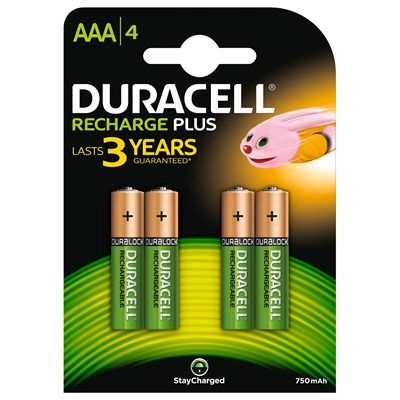 Duracell Rechargable Pack of 4 AAA 750mAh Rechargeable Batteries