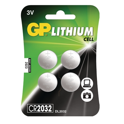 GP Lithium Cell Pack of 4 Coin Cell CR2032 Batteries