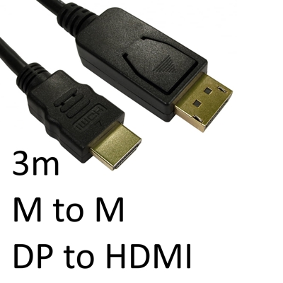 DisplayPort (M) to HDMI (M) 3m Black OEM Display Cable