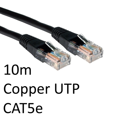 RJ45 (M) to RJ45 (M) CAT5e 10m Black OEM Moulded Boot Copper UTP Network Cable