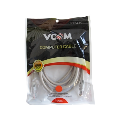 VCOM RJ45 (M) to RJ45 (M) CAT5e 2m Grey Retail Packaged Moulded Network Cable