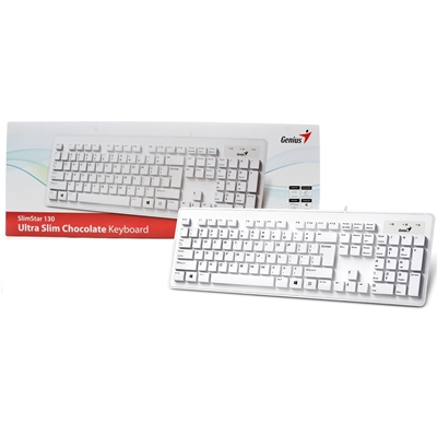 Genius SlimStar 130 USB Desktop Slim Design White Keyboard