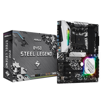 ASRock B450 Steel Legend AMD Socket AM4 ATX HDMI/DisplayPort M.2 DDR4 RGB USB C 3.1 Motherboard