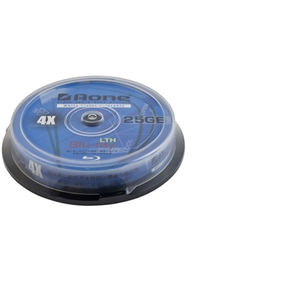Aone 4X 25GB Blu-Ray Disc Full Face Printable 10 PK Spindle
