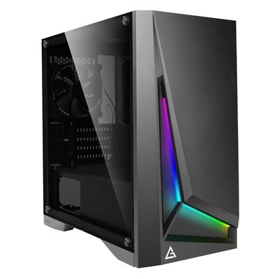 Antec DP301M Micro Tower 2 x USB 3.0 Tempered Glass Side Window Panel Black Case with Addressable RGB LED Lighting
