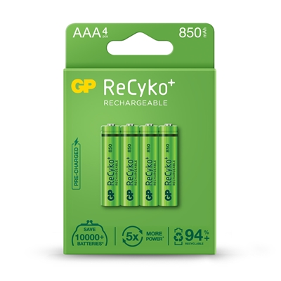 GP ReCyko+ Pack of 4 AAA 850mAh Rechargeable Batteries
