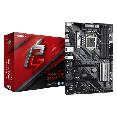 ASRock H470 Phantom Gaming 4 Intel Socket 1200 10th Gen ATX HDMI/DisplayPort Dual M.2 USB C Motherboard