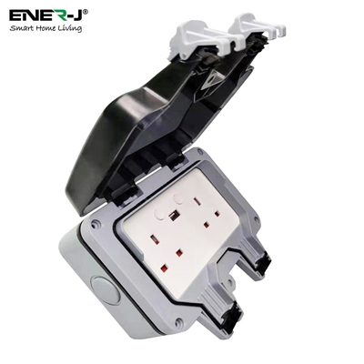 ENER-J Smart WiFi Weatherproof Double Socket With USB