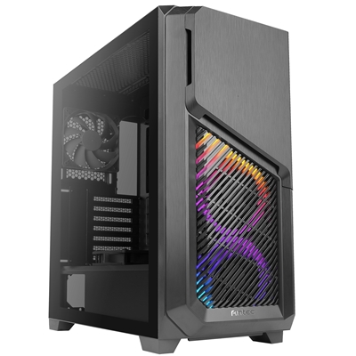 Antec DP502 FLUX Mid Tower 2 x USB 3.0 Tempered Glass Side Window Panel Black Case with Addressable RGB LED Fans