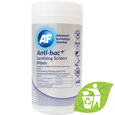 AF Recyclable Anti-Bacterial Sanitising Screen Wipes - Tub of 60
