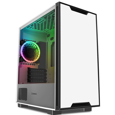 GameMax Commando Micro Tower 1 x USB 3.0 / 2 x USB 2.0 Tempered Glass Side Window Panel White Case with Addressable RGB LED Fan