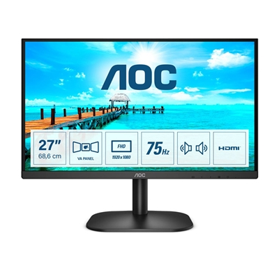"AOC 27B2AM 27"" LED Widescreen Full HD VGA / HDMI Frameless Black Monitor"