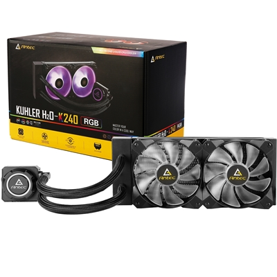 Antec Kuhler H20 K240 Universal Socket 240mm PWM 2000RPM RGB LED AiO Liquid CPU Cooler with Wired RGB Controller